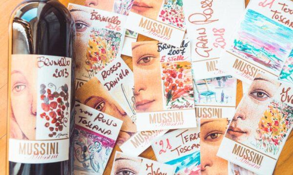 vini-mussini-brunello-etichette-disegnate-a-mano-vino-siena-montalcino-toscana